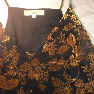 Golden velvet floral strappy cami
